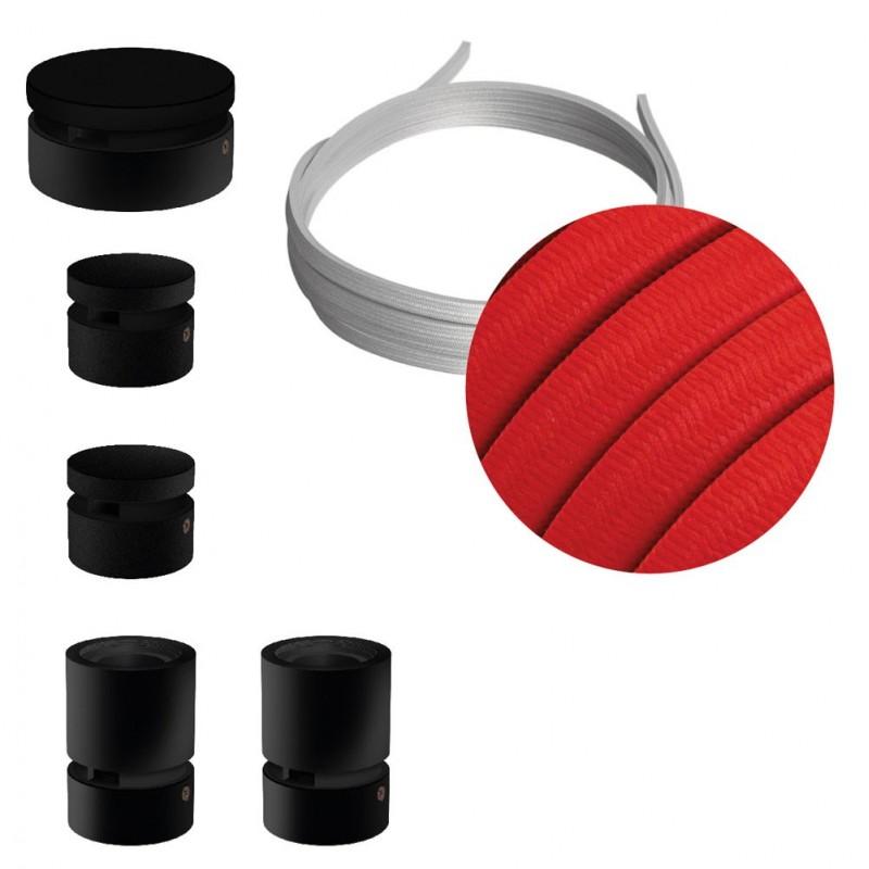 Filé systém - zostava pre cik-cak inštaláciu - 3m kábla pre svetelné šnúry a 5 čiernych lakovaných drevených komponentov