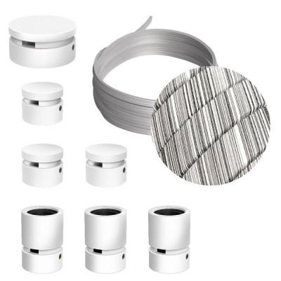 Filé systém - zostava pre priamu inštaláciu - 5m kábla pre svetelné šnúry a 7 bielych lakovaných drevených komponentov