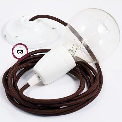 Porcelánová závesná lampa s okrúhlym textilným káblom - hodváb - hnedá RM13