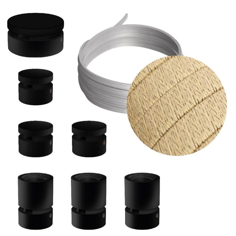 Filé systém - zostava pre priamu inštaláciu - 5m kábla pre svetelné šnúry a 7 čiernych lakovaných drevených komponentov