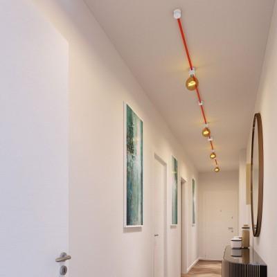 Filé systém - zostava pre symetrickú inštaláciu - 5m kábla pre svetelné šnúry a 9 bielych lakovaných drevených komponentov