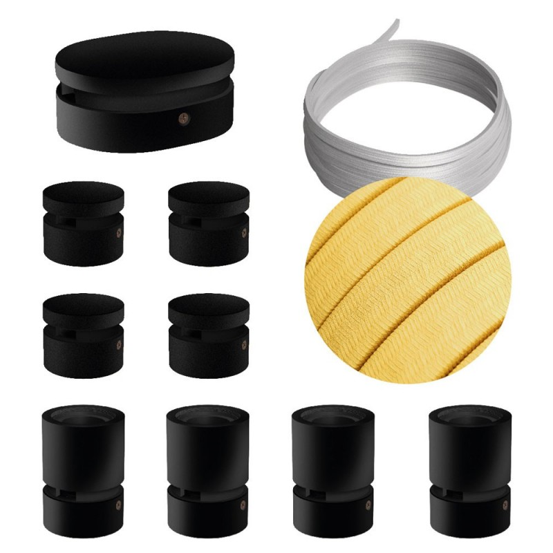 Filé systém - zostava pre symetrickú inštaláciu - 5m kábla pre svetelné šnúry a 9 čiernych lakovaných drevených komponentov