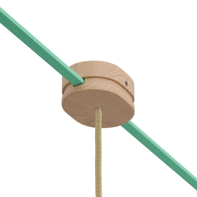 Oválna drevená stropná rozeta s 1 stredovým a 2 bočnými otvormi pre svetelné šnúry a Filé systém. Vyrobená v Taliansku.