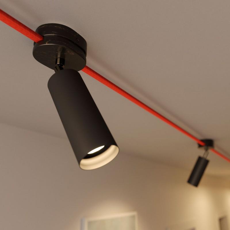 Fermaluce Filè - nastaviteľné bodové svietidlo pre Filé systém s kovovým tienidlom Tub-E14