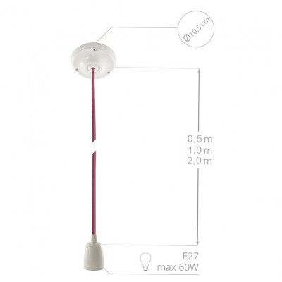 Porcelánová závesná lampa s okrúhlym textilným káblom - hodváb - ružová RM16
