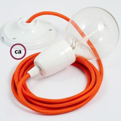 Porcelánová závesná lampa s okrúhlym textilným káblom - hodváb - oranžová RM15