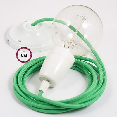 Porcelánová závesná lampa s okrúhlym textilným káblom - hodváb - limetková zelená RM18