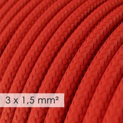 Textilný elektrický kábel so širším priemerom 3x1,50 - okrúhly - hodváb RM09 červený