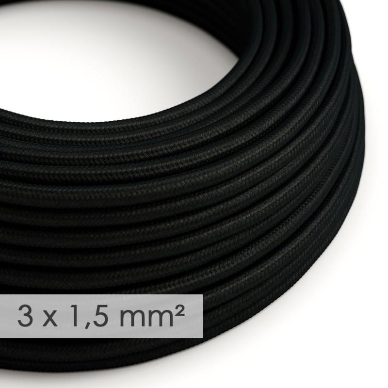 Textilný elektrický kábel so širším priemerom 3x1,50 - okrúhly - hodváb RM04 čierny