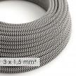 Textilný elektrický kábel so širším priemerom 3x1,50 - okrúhly - hodváb RZ04 čierny cik cak