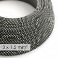 Textilný elektrický kábel so širším priemerom 3x1,50 - okrúhly - hodváb RT41 čierno biely 3D