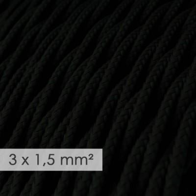 Textilný elektrický kábel so širším priemerom 3x1,50 - stočený - hodváb TM04 čierny