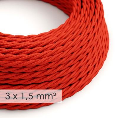 Textilný elektrický kábel so širším priemerom 3x1,50 - stočený - hodváb TM09 červený