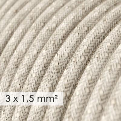 Textilný elektrický kábel so širším priemerom 3x1,50 - okrúhly - ľan prírodnej neutrálnej farby RN01