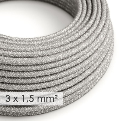 Textilný elektrický kábel so širším priemerom 3x1,50 - okrúhly - ľan prírodnej šedej farby RN02