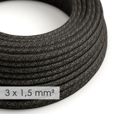 Textilný elektrický kábel so širším priemerom 3x1,50 - okrúhly - ľan prírodnej antracitovej farby RN03