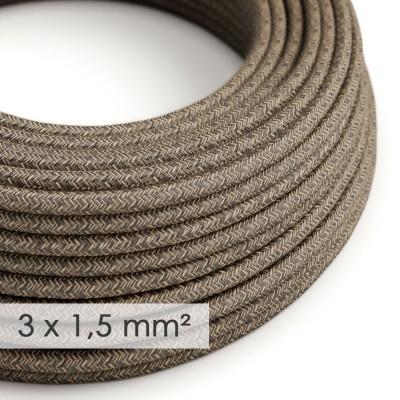 Textilný elektrický kábel so širším priemerom 3x1,50 - okrúhly - ľan prírodnej hnedej farby RN04