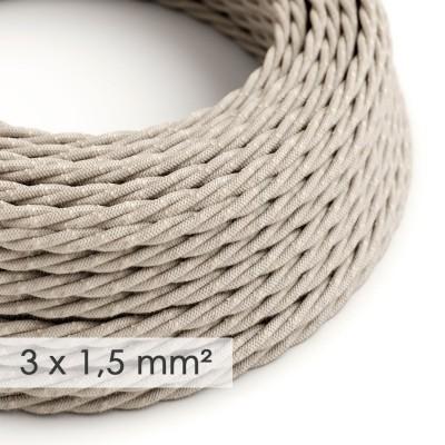 Textilný elektrický kábel so širším priemerom 3x1,50 - stočený - ľan prírodnej neutrálnej farby TN01