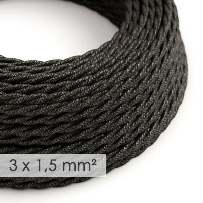 Textilný elektrický kábel so širším priemerom 3x1,50 - stočený - ľan prírodnej antracitovej farby TN03