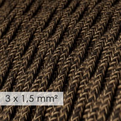 Textilný elektrický kábel so širším priemerom 3x1,50 - stočený - ľan prírodnej hnedej farby TN04