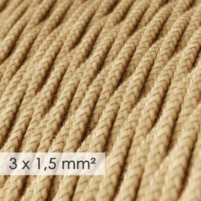 Textilný elektrický kábel so širším priemerom 3x1,50 - stočený - potiahnutý jutou TN06