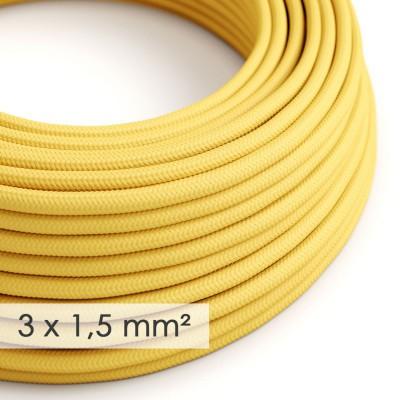 Textilný elektrický kábel so širším priemerom 3x1,50 - okrúhly - umelý hodváb RM10 žltý