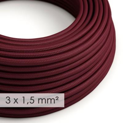 Textilný elektrický kábel so širším priemerom 3x1,50 - okrúhly - umelý hodváb RM19 bordový