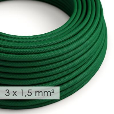 Textilný elektrický kábel so širším priemerom 3x1,50 - okrúhly - umelý hodváb RM21 zelený