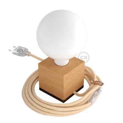 Moco Posaluce Cubetto: svietidlo v tvare kocky z prírodného korku, s textilným káblom, vypínačom a zástrčkou