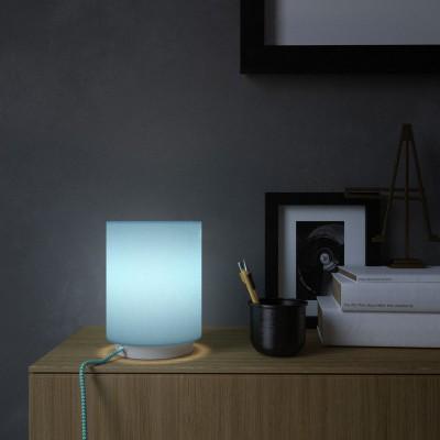 Posaluce, kovové svietidlo s modrým plátenným valcovým tienidlom, textilným káblom, in-line vypínačom a 2-pólovou zástrčkou