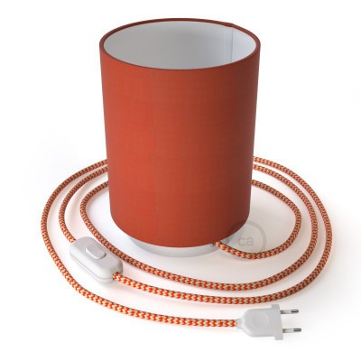 Posaluce in metal with Lobster Cinette Cilindro lampshade, complete with fabric cable, switch and 2-pin plug