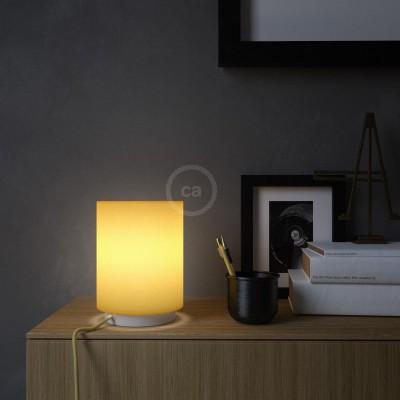 Posaluce, kovové svietidlo so svetložltým plátenným valcovým tienidlom textilným káblom in-line vypínačom a 2-pólovou zástrčkou