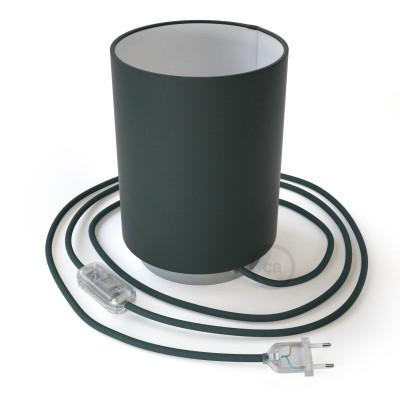 Posaluce, kovové svietidlo s valcovým tienidlom Petrol Blue Cinette, textilným káblom, in-line vypínačom a 2-pólovou zástrčkou