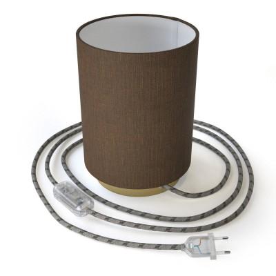 Posaluce, kovové svietidlo s hnedým valcovým tienidlom Camelot, textilným káblom, in-line vypínačom a 2-pólovou zástrčkou