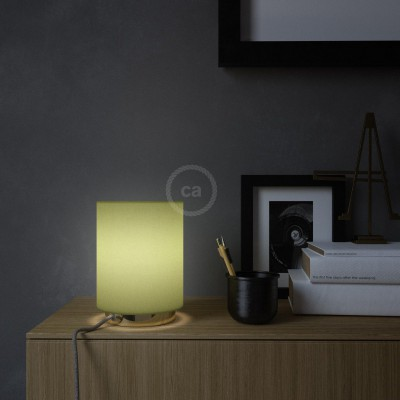 Posaluce, kovové svietidlo so zeleným plátenným valcovým tienidlom, textilným káblom, in-line vypínačom a 2-pólovou zástrčkou