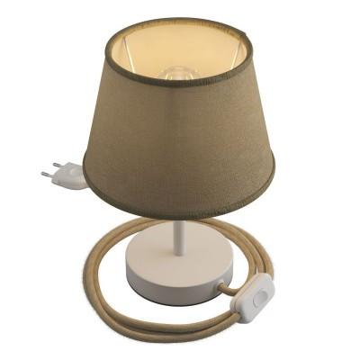 Alzaluce s tienidlom Impero, kovová stolná lampa so zástrčkou, káblom a vypínačom