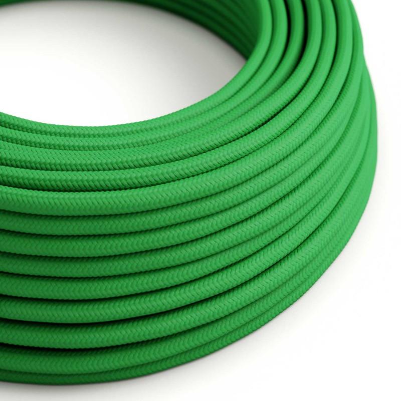 Okrúhly textilný elektrický kábel, umelý hodváb, jednofarebný, RM06 Zelená