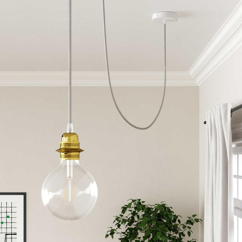 Okrúhly textilný elektrický kábel, umelý hodváb, jednofarebný, RM01 Biela