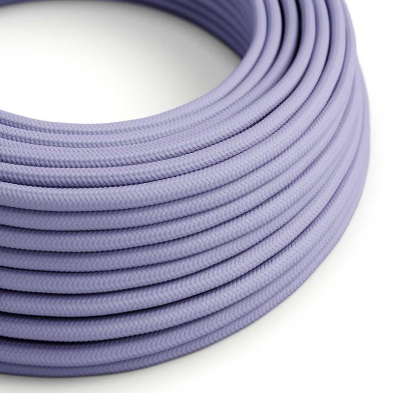 Okrúhly textilný elektrický kábel, umelý hodváb, jednofarebný, RM07 Lila