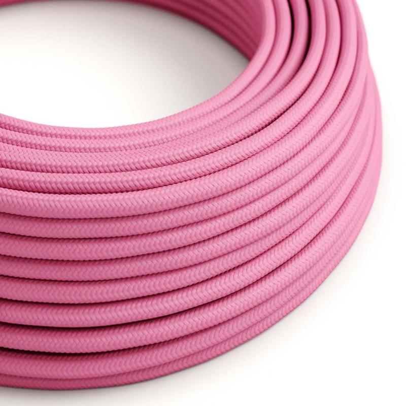 Okrúhly textilný elektrický kábel, umelý hodváb, jednofarebný, RM08 Fuchsiová