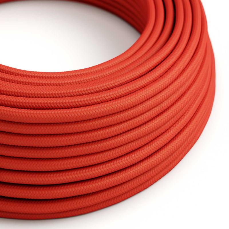 Okrúhly textilný elektrický kábel, umelý hodváb, jednofarebný, RM09 Červená