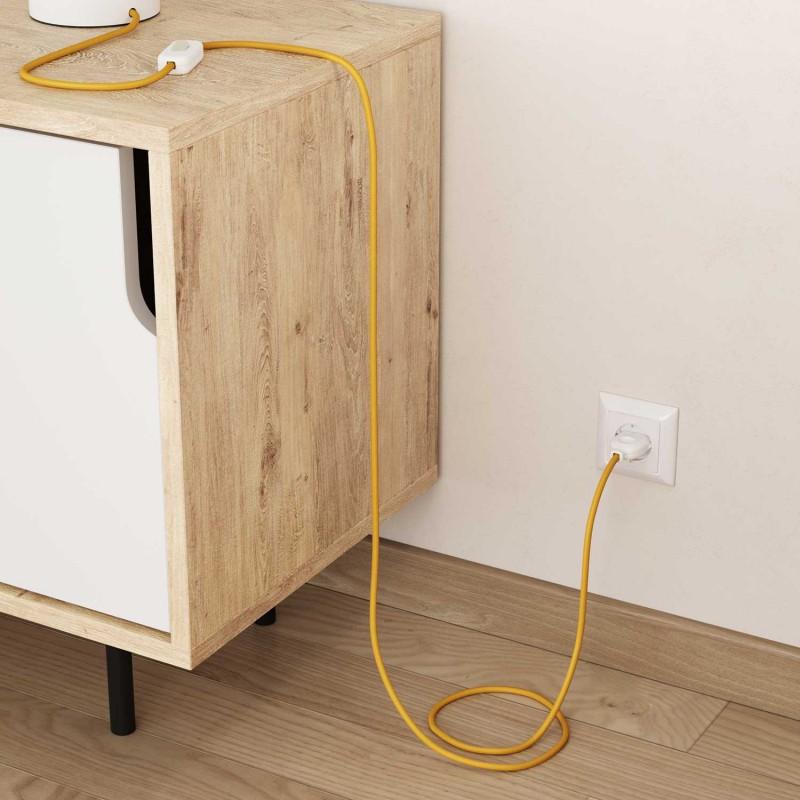 Okrúhly textilný elektrický kábel, umelý hodváb, jednofarebný, RM10 Žltá