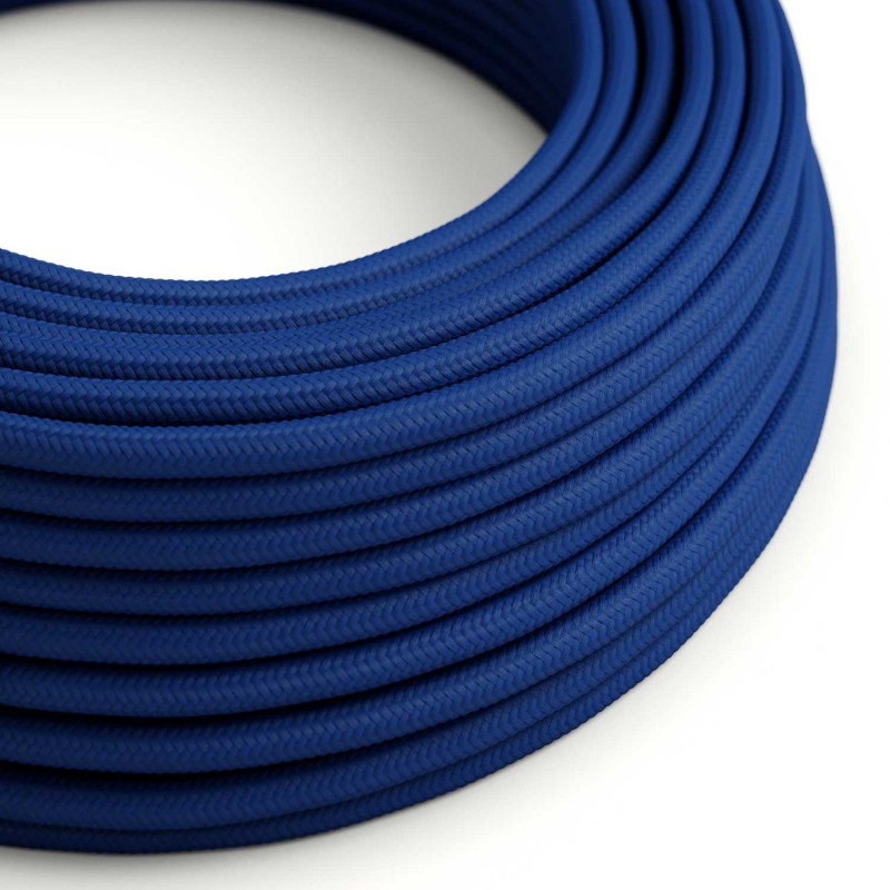 Okrúhly textilný elektrický kábel, umelý hodváb, jednofarebný, RM12 Modrá