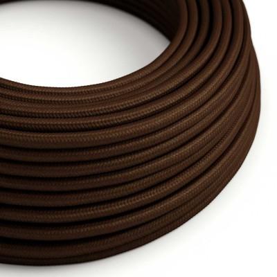Okrúhly textilný elektrický kábel, umelý hodváb, jednofarebný, RM13 Hnedá