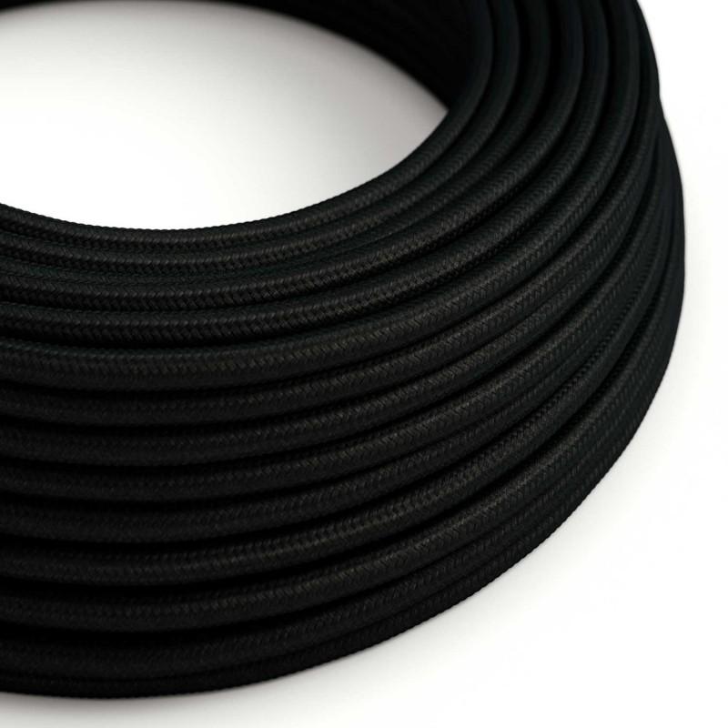 Okrúhly textilný elektrický kábel, umelý hodváb, jednofarebný, RM04 Čierna