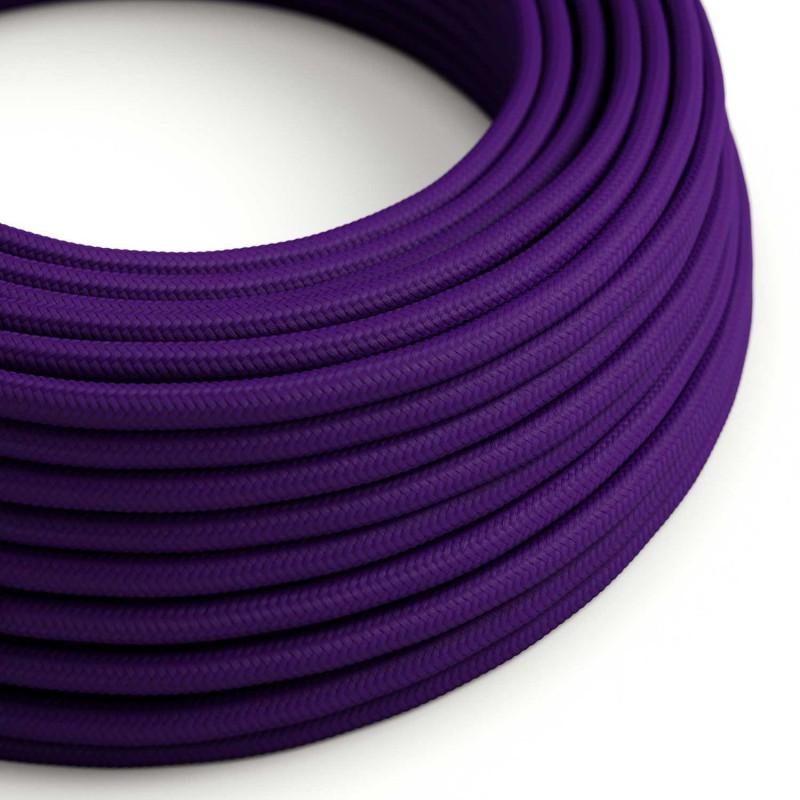 Okrúhly textilný elektrický kábel, umelý hodváb, jednofarebný, RM14 Fialová