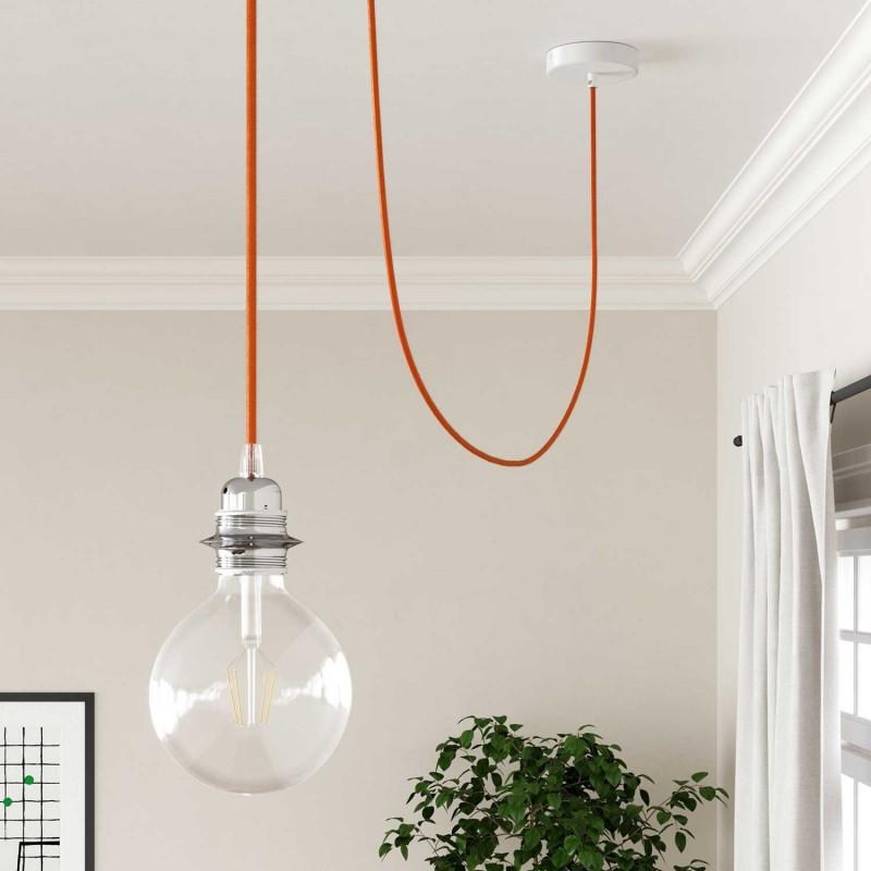 Okrúhly textilný elektrický kábel, umelý hodváb, jednofarebný, RM15 Oranžová