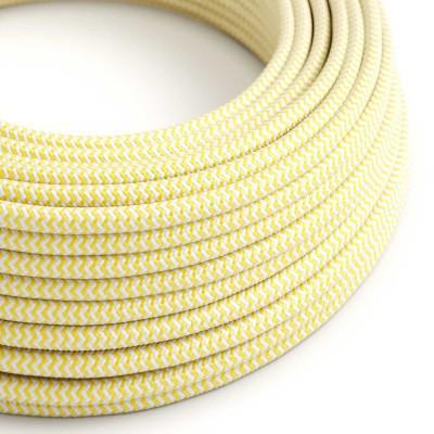 Okrúhly textilný elektrický kábel, umelý hodváb, CikCak, RZ10 Žltá