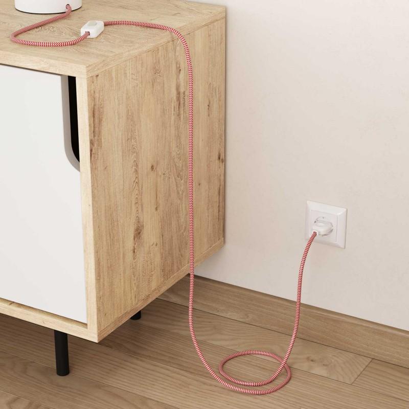 Okrúhly textilný elektrický kábel, umelý hodváb, CikCak, RZ09 Červená