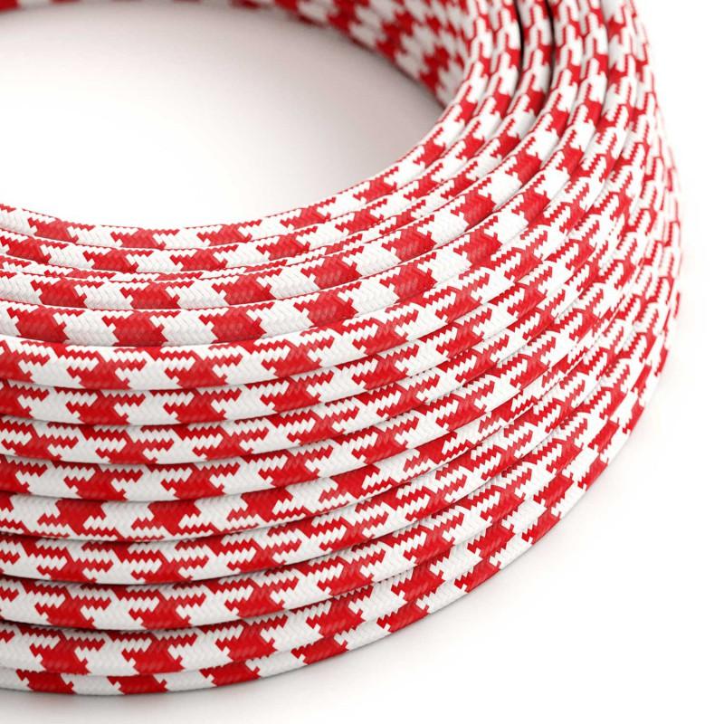 Okrúhly textilný elektrický kábel, umelý hodváb, dvojfarebný, TO207 Červená